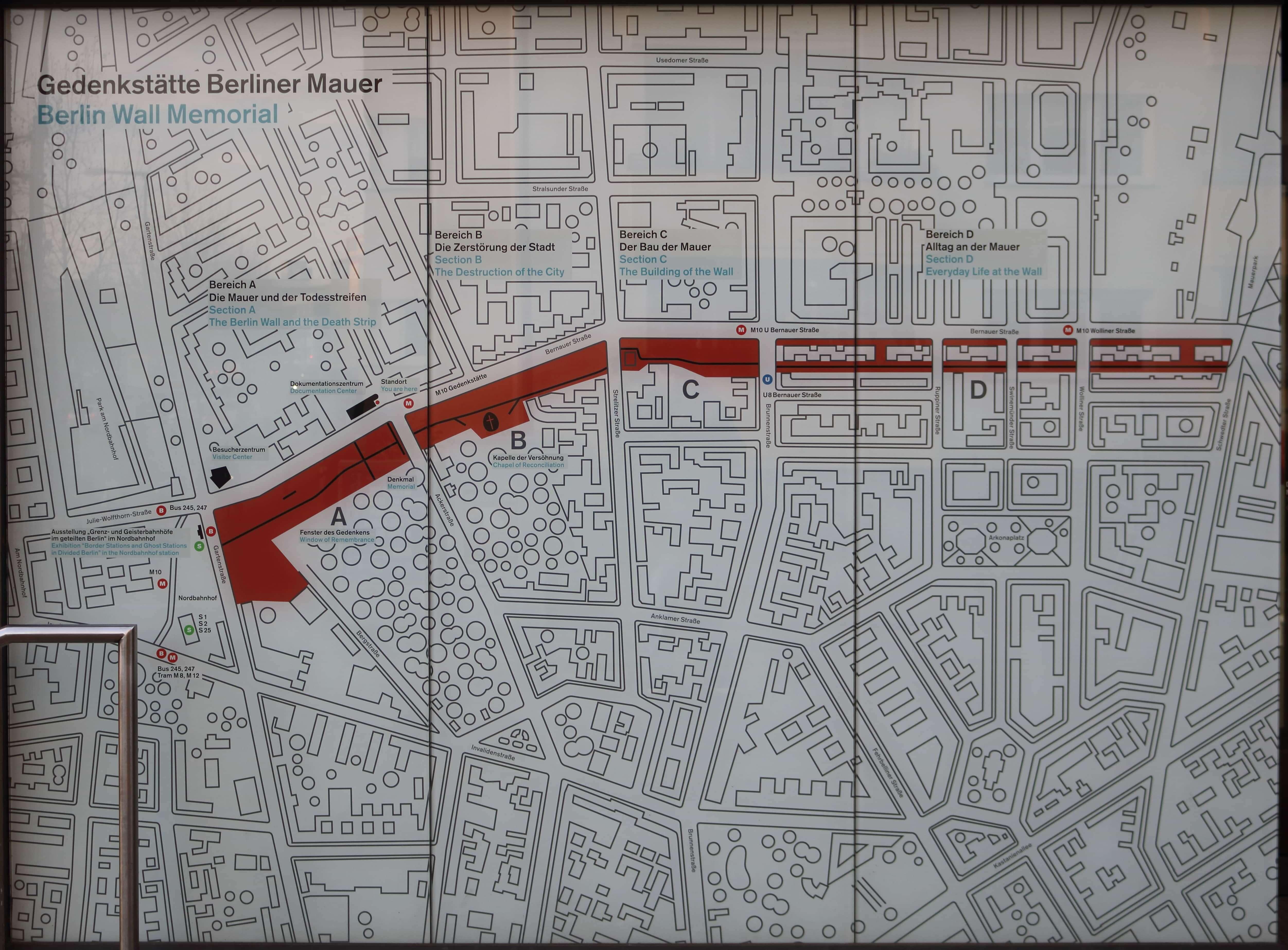 Bau Der Berliner Mauer Karte.Gedenkstätte Berliner Mauer Karte Guidenex
